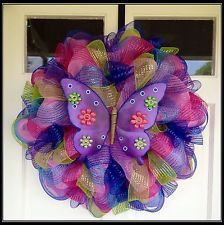 Spring Summer All Occasion Purple Butterfly Welcome Deco Mesh Wreath