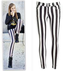 New-balck-and-white-stripe-strechy-super-skinny-jeans