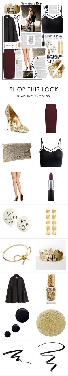 """""""NYE Dance Party 2016. <3"""" by tatjana ❤ liked on Polyvore featuring Sebastian Milano, Reiss, Pretty Polly, MAC Cosmetics, Kate Spade, R.J. Graziano, By Boe, H&M, Barry M and Topshop"""