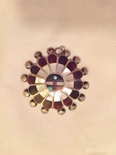 Native American Zuni Sterling Silver Sun Face Inlay Pendant Onyx Mother of Pearl