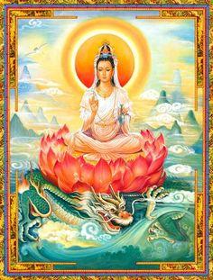 Kwan Yin, Goddess of compassion with dragon