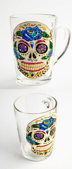 Love This for my sister  Hey, I found this really awesome Etsy listing at https://www.etsy.com/listing/247332397/halloween-gift-sugar-skull-mug-halloween