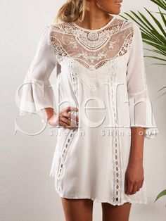 White Round Neck With Lace Dress 15.99