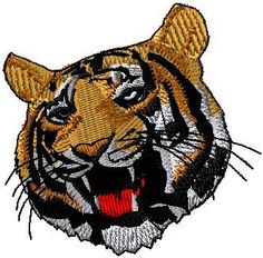 Large tiger head iron on or sew on patch by EmbroideryPatchLove