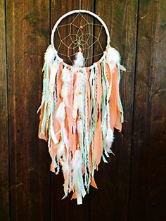 Dream Catcher, Dreamcatcher, Tapestry, Bohemian Décor, Dream Catcher Wall Hanging, Bohemian Wall Tapestry, Woodland Nursery, Hippie Tapestry, Coral and Mint Dream Catcher