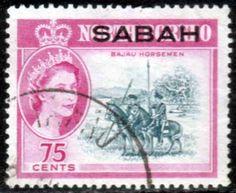 Sabah 1964 SG SG 419 Bajau Horseman Fine Used SG 419 Scott 12 Other Commonwealth stamps here