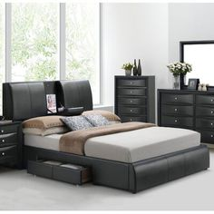 The modern Acme Furniture Kofi Platform Bed features discreet storage options, sturdy engineered wood construction, and faux leather upholstery. Storage Bed Queen, Bed Storage, Bedroom Storage, Storage Headboard, 5 Piece Bedroom Set, Bedroom Sets, Master Bedroom, King Bedroom, Bedrooms