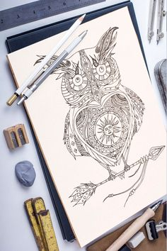 Solar Owl adult coloring page Pattern Coloring Pages, Colouring Pages, Adult Coloring Pages, Hand Drawings, Free Hand Drawing, Bird Patterns, Beautiful Drawings, A3, Solar