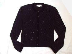 St John Evening by Marie Gray Santana Knit Black Sparkle Top Jacket Cardigan 10 | eBay