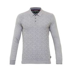 BuyTed Baker Electro Long Sleeve Polo Shirt, Light Grey, 2 Online at johnlewis.com