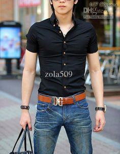 2014 Hot Sale New Mens Shirts short sleeve Casual Slim plaid ...