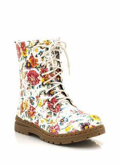 floral-print-combat-boots RED - GoJane.com