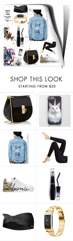 """Sweat like a 🐷 to look like a 🦊"" by lauren-ilana ❤ liked on Polyvore featuring Chloé, Honey Punch, Wolford, Dolce&Gabbana, Lancôme, NIKE and Fitbit"