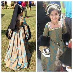Teal/Gold Tudor Outfit - made for the 2013 Renaissance Festival. dress gown henrican girdle belt French hood child