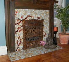 Asain Fireplace - asian - bedroom - other metro - Stevo Mosaics Mosaic Pots, Mosaic Glass, Mosaic Tiles, Mosaic Fireplace, Asian Bedroom, Craftsman Fireplace, Craftsman Interior, Unique Tile