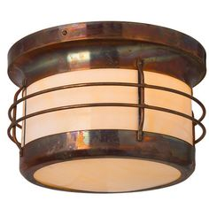 America's Finest Lighting Company Balboa 2 Light Outdoor Flush Mount Shade Finish: Champagne, Finish: Architectural Bronze