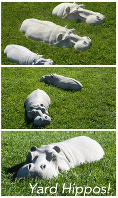 Hippos in the yard! Fun yard sculptures #hippos #backyard #backyardideas #artwork #etsy #backyardfun #curbappeal #outdoordecor #ad #sculpture #gardening #gardenideas