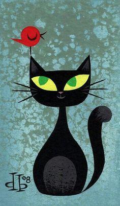 Gato preto e pássaro vermelho