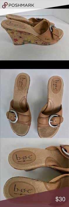 BOC born tan floral wedges sandals slide size 7 These shoes is in great condition. Born Shoes Sandals