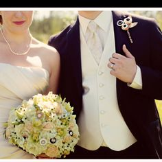 An awesome button themed wedding check out the boutonnière