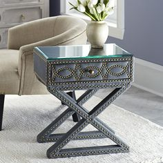Its all in the details Hemicycle Nailhead Side Table