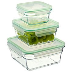Made from tempered glass, our Glasslock™ Food Storage Containers are manufactured to withstand repetitive use in the refrigerator, freezer and microwave.  You can store, heat and serve food all in the same, attractive container!  There's no worry about warping, staining or absorbing food odors.  The unique snap-lock lid system features a durable silicone seal and is easy to open and close. For compact storage, the graduated sizes can be nested with their lids on.