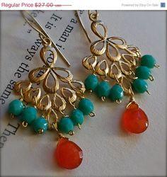 LABOR DAY SALE Dangle Earrings with Caribbean Blue Glass and Fiery Orange Carnelian on Etsy, $24.30