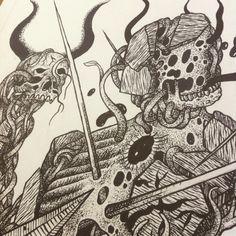 """Ultron"" finished A3. Detail 2 #art#drawing#illustration#ultron#theavengers#ink#blackandwhite#penandink#pentel#detail#stippling#design#skull#devil#evil#fantasyart"