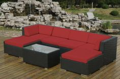 Amazon.com : Genuine Ohana Outdoor Patio Wicker Furniture 7pc All Weather Gorgeous Couch Set with BEIGE CUSHION : Outdoor And Patio Furnitur...