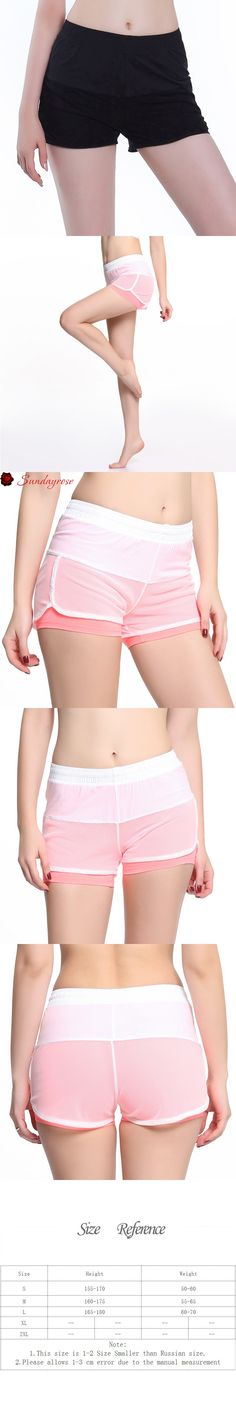 SUNDAY ROSE Women's Mesh Anti-Exposure Fake Two Pieces Yoga Shorts Pink & White Leggings 2 Layers Fitness Soft Sports Clothes