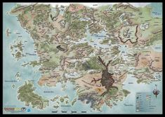 "D Forgotten Realms World Map (GF9 72761) - Vinyl, dimensions 30 x 42"" - frame for wall"
