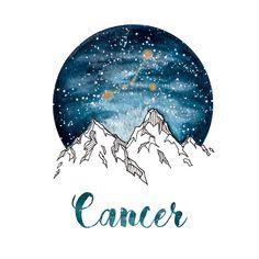 Cancer Zodiac Watercolor Print by PickledCherryblossom on Etsy