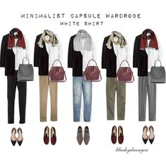 Minimalist Wardrobe - Fall 2015 - White Shirt by bluehydrangea on Polyvore featuring J.Crew, Madewell, Boden, Zara, Rêve D'un Jour, Banana Republic, Roberto Cavalli, SEVENTY and Lost & Found