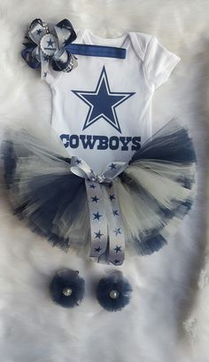 Dallas Cowboys Tutu Gift Set - Tutu - Shirt/Onesie - Barefoot Sandals - Two Headbands