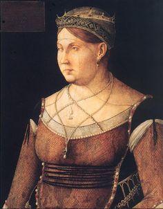1500 Italy, Venice. Catharina Cornaro, Queen of Cyprus Portrait by Giovanni Bellini.