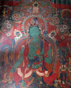This green Tara from the interior shrine of Gyantse Kumbum dates to after 1427 and is approximately six feet tall.  The monument is structured so that a worshiper walking around and up onto the monument encounters a sequence of images. One begins with auspicious deities of protection and abundance, like the green Tara shown above.  by Kurt Behrendt