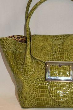 Marc Bouwer NWOT Faux Croco Vegan Embossed Handbag Purse Tote Satchel  #MarcBouwer #ShoulderBag