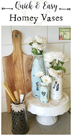A super easy way to turn jars from around your home into Quick and Easy Homey Vases. Full tutorial and supply list   www.raggedy-bits.com