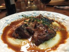 """Beef Short Ribs with Bacon and Herb Sauce"" served with ""Cheater's Polenta!"" Cozy and comforting! Dinner Night: A Rocky New Year and the Ultimate Comfort Food"
