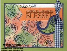 """Paisleys & Posies Paisley and Gingham handmade card using Stampin' Up! products - Paisleys & Posies Photopolymer Stamp Set, Glossy Cardstock, Banner Triple Punch, 1/2"""" Gingham Ribbon, and Paisley Framelits Dies.  Directions and measurements on my blog.  By Michele Reynolds, Inspiration Ink."""