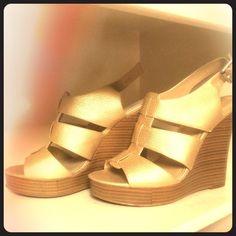 """HOST PICK    9 West Sz 8 Gold Wedge Sandal NWOT or Box. Gold embossed leather strap sling back sandal 4"""" heel. 9 West Shoes Wedges"""