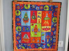 Spaceships and  Rockets Quilt or Wall Hanging by quiltedbykaren, $65.00