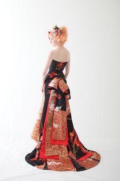 和ドレス・ウエディングドレスのドレスオーダー・レンタルドレスはアリアンサ 和ドレス・梅香 Modern kimono inspired wedding dress by Aliansa Japanese designer