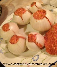 grilling recipe onion bombs. I like onions just enough to try this. meatloaf in an onion.