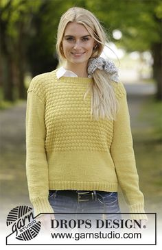 Golden puffs / DROPS - free knitting patterns by DROPS design Knitted sweater in DROPS BabyMerino. The piece is worked in stocking stitch and textured pattern. Sizes S - XXXL. Sweater Knitting Patterns, Cardigan Pattern, Knitting Designs, Knit Patterns, Free Knitting, Drops Design, Quick Crochet, Knit Crochet, Pull Poncho