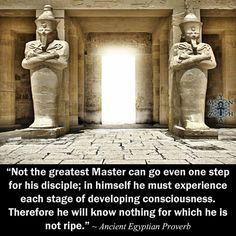 """""""Not the greatest Master can go even one step for his disciple; in himself he must experience each stage of developing consciousness. Therefore he will know nothing for which he is not ripe."""" ~ Ancient Egyptian Proverb"""