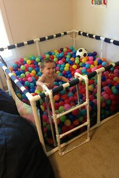 When you make your own ball pit, you don't have to worry about strangers' germs. | 31 Genius Ways To Bring The Playground Indoors