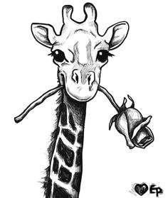 giraffe drawing but with blue ribbon for my grandma who lost her life to colon cancer