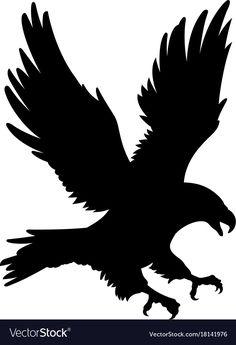 Eagle silhouette 001 vector image on VectorStock Silhouette Aigle, Eagle Silhouette, Silhouette Images, Animal Silhouette, Silhouette Vector, Silhouette Design, Stencil Art, Stencil Designs, Stencils