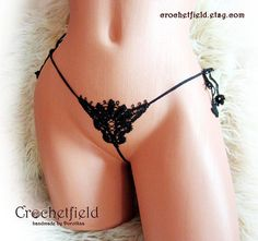 Mini butterfly open thong ouvert panty crochet embroidery